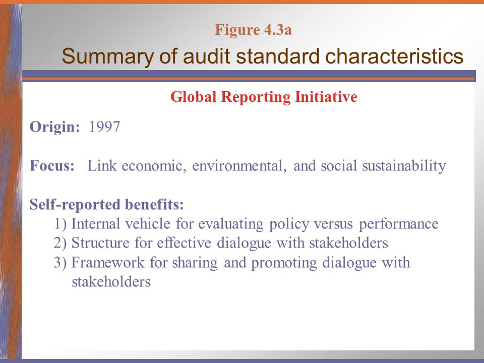 Figure 4.3a Summary of audit standard characteristics Global Reporting Initiative Origin: 1997 Focus: Link economic, environmental, and social sustain