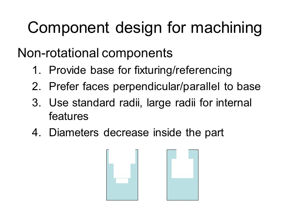 Component design for machining Non-rotational components 1.Provide base for fixturing/referencing 2.Prefer faces perpendicular/parallel to base 3.Use standard radii, large radii for internal features 4.Diameters decrease inside the part