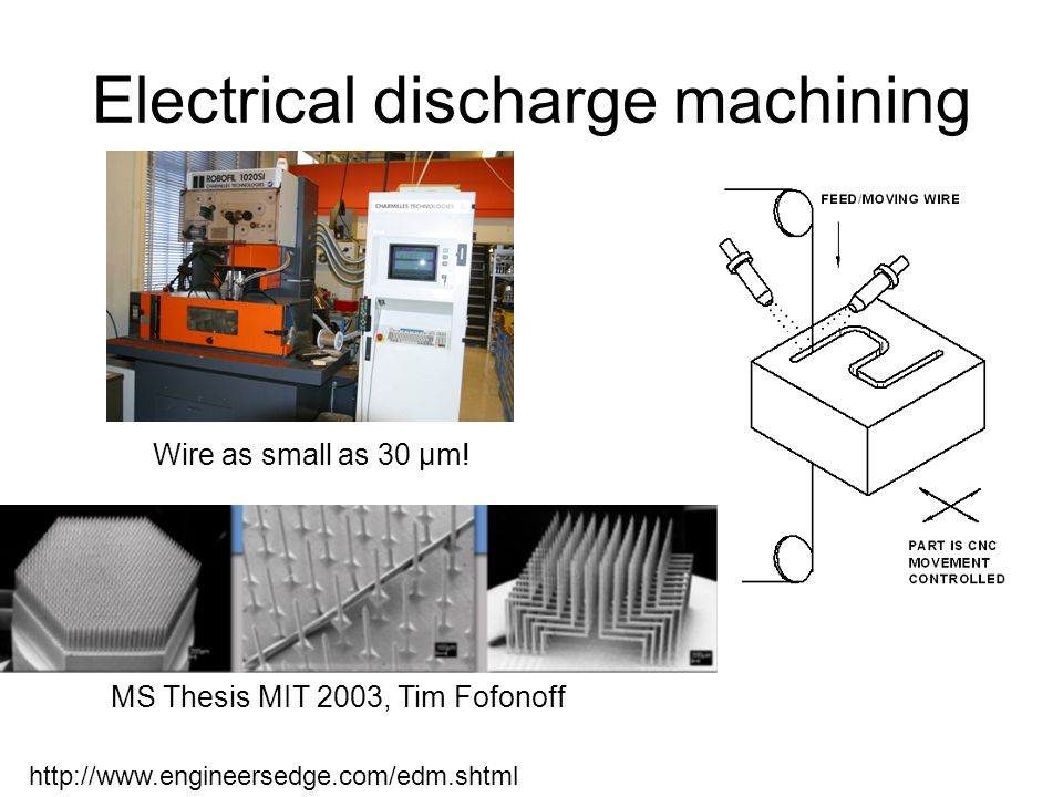 Electrical discharge machining http://www.engineersedge.com/edm.shtml MS Thesis MIT 2003, Tim Fofonoff Wire as small as 30 µm!