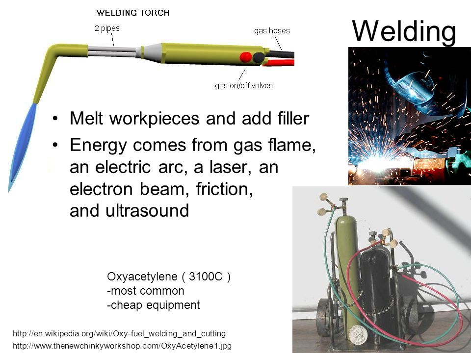 Welding Melt workpieces and add filler Energy comes from gas flame, an electric arc, a laser, an electron beam, friction, and ultrasound Oxyacetylene ( 3100C ) -most common -cheap equipment http://www.thenewchinkyworkshop.com/OxyAcetylene1.jpg http://en.wikipedia.org/wiki/Oxy-fuel_welding_and_cutting