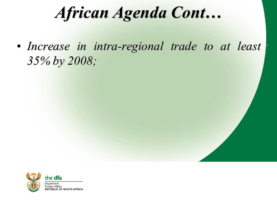 African Agenda Cont… Increase in intra-regional trade to at least 35% by 2008;Increase in intra-regional trade to at least 35% by 2008;