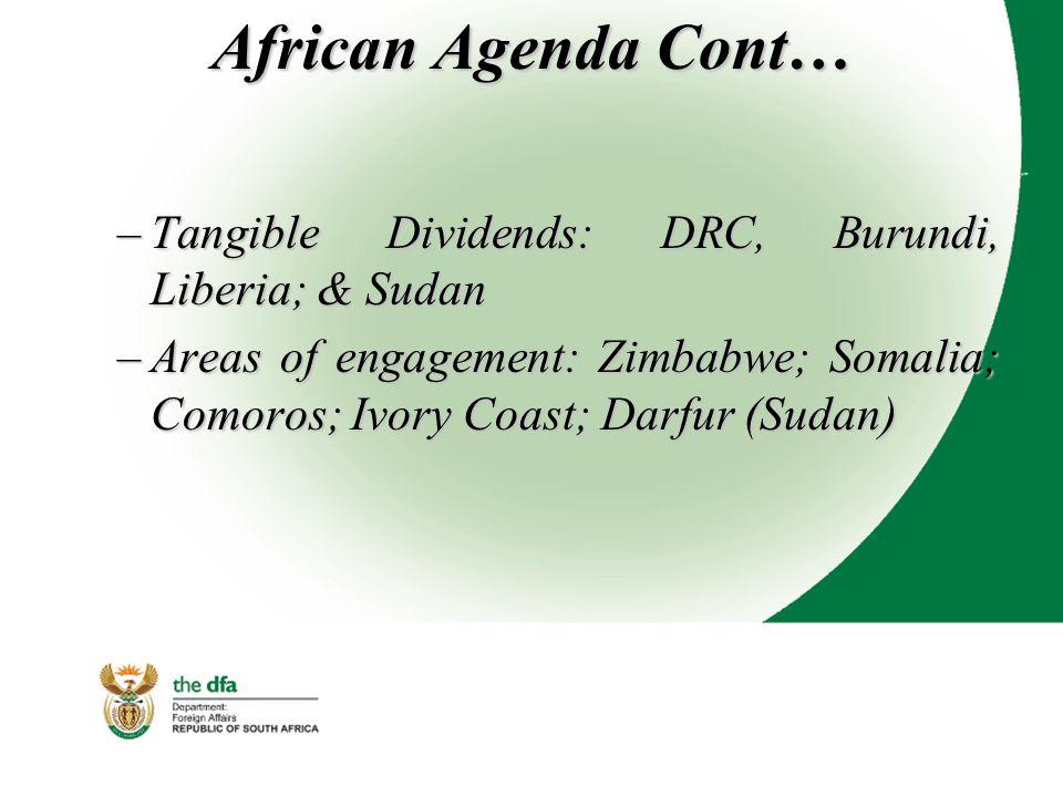 African Agenda Cont… –Tangible Dividends: DRC, Burundi, Liberia; & Sudan –Areas of engagement: Zimbabwe; Somalia; Comoros; Ivory Coast; Darfur (Sudan)