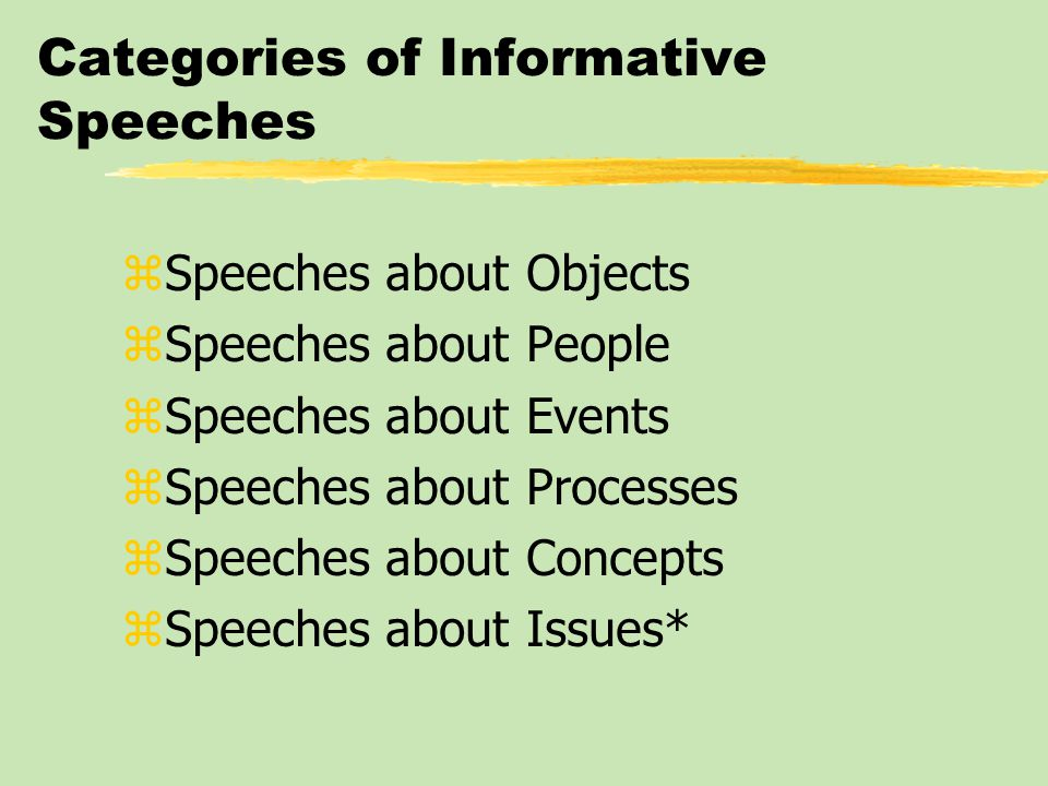 Categories of Informative Speeches zSpeeches about Objects zSpeeches about People zSpeeches about Events zSpeeches about Processes zSpeeches about Concepts zSpeeches about Issues*