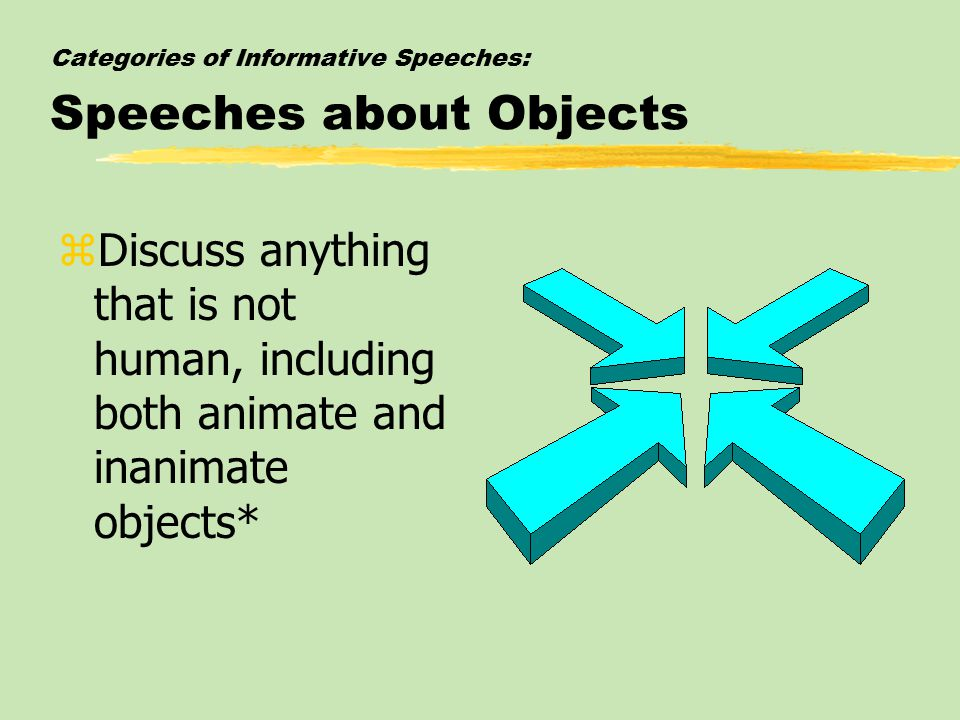 Categories of Informative Speeches: Speeches about Objects zDiscuss anything that is not human, including both animate and inanimate objects*