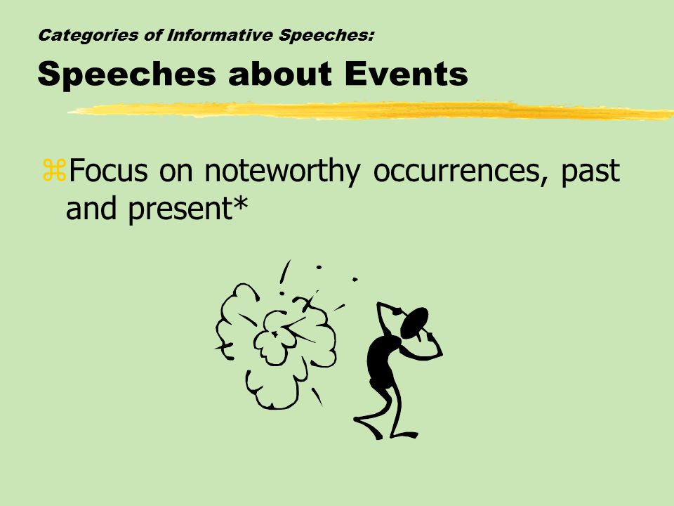 Categories of Informative Speeches: Speeches about Events zFocus on noteworthy occurrences, past and present*