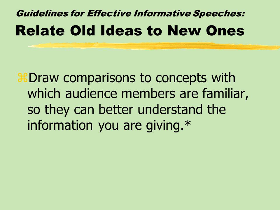 Guidelines for Effective Informative Speeches: Relate Old Ideas to New Ones zDraw comparisons to concepts with which audience members are familiar, so