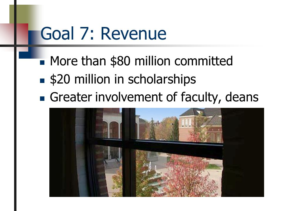 Goal 8: Improvement Self-study for re-accreditation Benchmarking in program review New assessment efforts