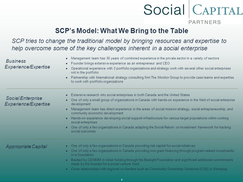 10 SCP's Model: Results of SCP's Involvement Break Even Point By adding expertise and appropriate capital SCP can help its portfolio companies overcome the natural effects of the social mission on the financial sustainability of the business Further benefit is created by strategically leveraging the social mission to generate competitive advantages for the business either through improved channel access, improved cost structures or enhancements to marketing Even with these aspects of added value we understand that the business may still not reach the level of profitability that could be gained in a more traditional for-profit business in the same sector Our belief is that these businesses can at least break-even and, in some instances, generate small (<10%) returns to investors SCP Portfolio Org  The result is that with the help of SCP, portfolio organizations can strive for financial self sufficiency while still accomplishing the social mission SCP will only work with organizations committed to reaching this goal Illustrative Typical Social Enterprise SCP CounterbalanceTypical Private Enterprise Pure Social Return Pure Financial Return