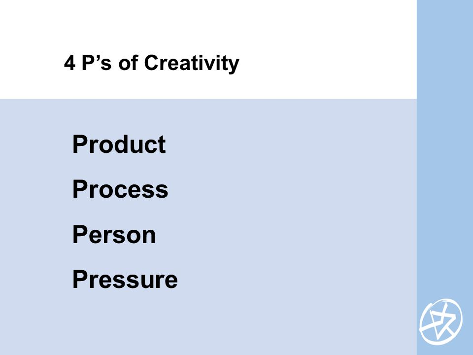 Product Process Person Pressure 4 P's of Creativity
