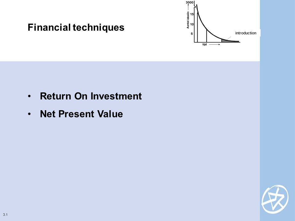 3.1 Financial techniques Return On Investment Net Present Value introduction