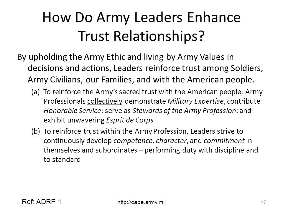 How Do Army Leaders Enhance Trust Relationships.