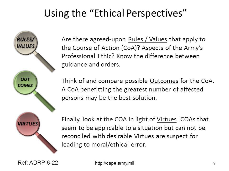 Using the Ethical Perspectives Are there agreed-upon Rules / Values that apply to the Course of Action (CoA).