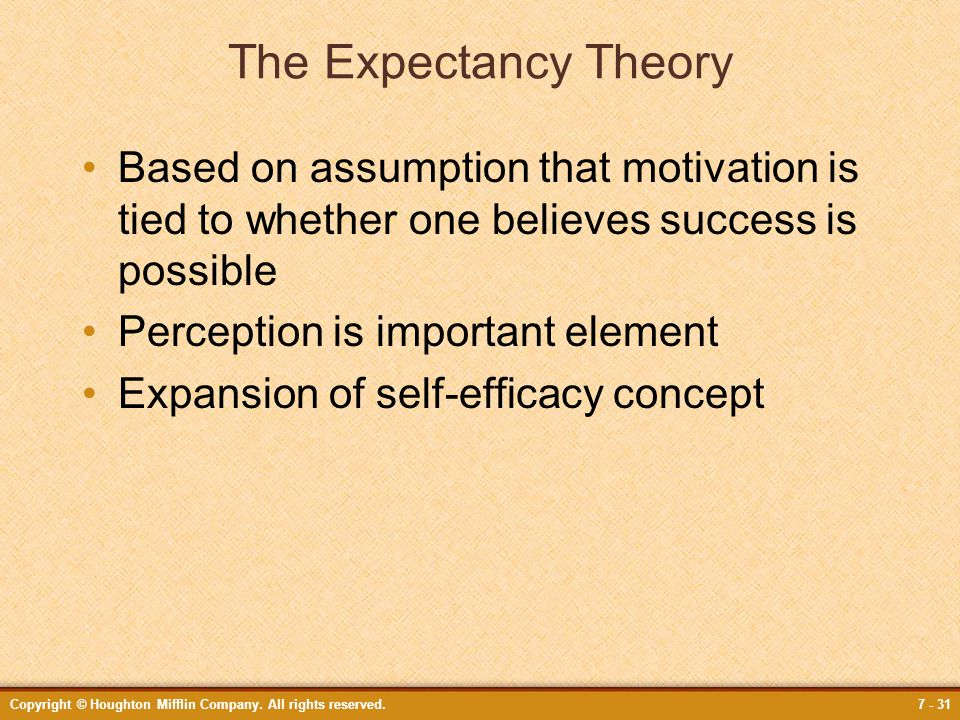 Copyright © Houghton Mifflin Company. All rights reserved.7 - 31 The Expectancy Theory Based on assumption that motivation is tied to whether one beli