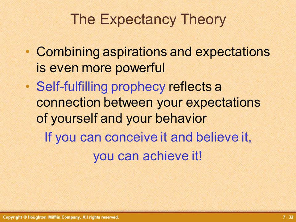 Copyright © Houghton Mifflin Company. All rights reserved.7 - 32 The Expectancy Theory Combining aspirations and expectations is even more powerful Se