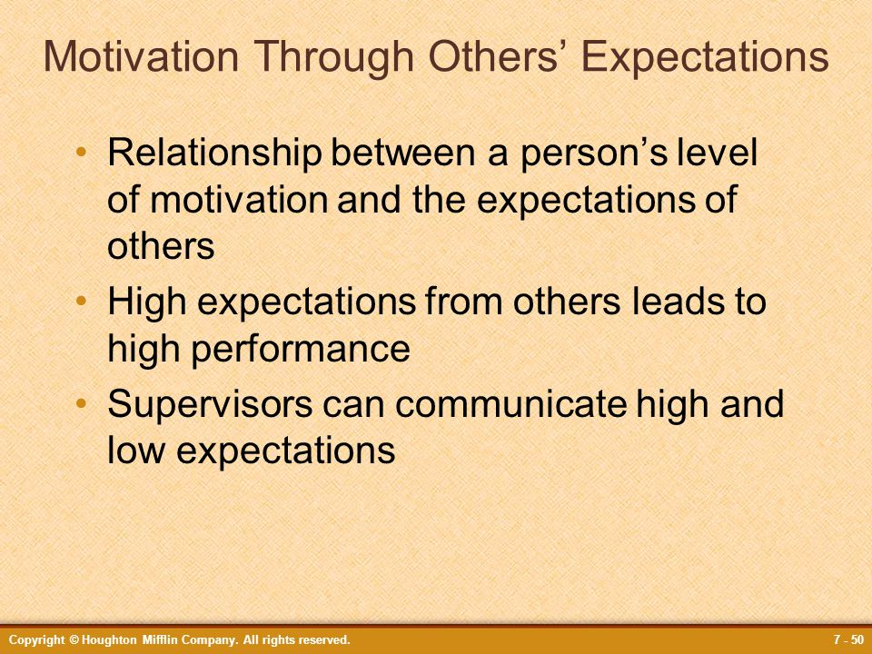 Copyright © Houghton Mifflin Company. All rights reserved.7 - 50 Motivation Through Others' Expectations Relationship between a person's level of moti