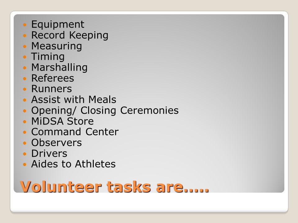 Volunteer tasks are…..