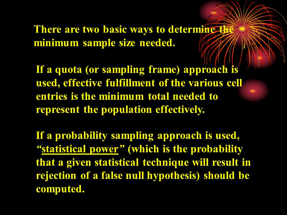Quota Sampling, which is used when a probability sampling method cannot be used, but subjects are able to be selected to represent identified characteristics of the population.