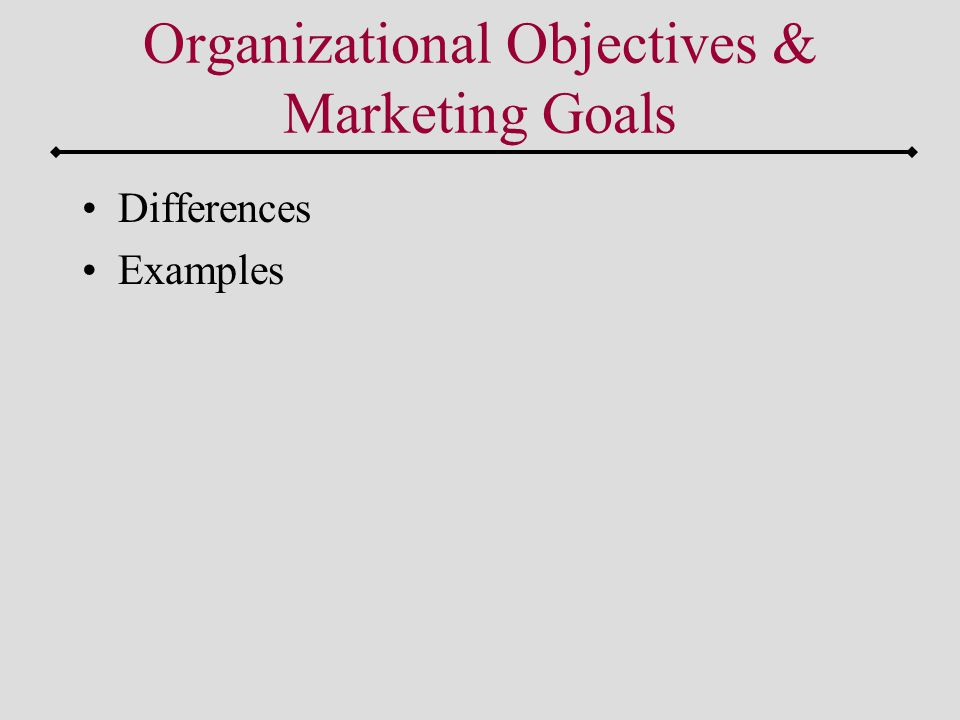 Organizational Objectives & Marketing Goals Differences Examples