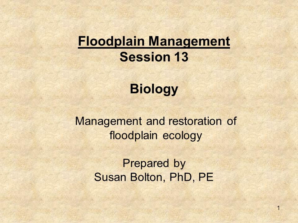 1 Floodplain Management Session 13 Biology Management and restoration of floodplain ecology Prepared by Susan Bolton, PhD, PE
