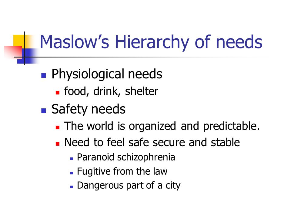 Maslow's Hierarchy of needs Physiological needs food, drink, shelter Safety needs The world is organized and predictable. Need to feel safe secure and