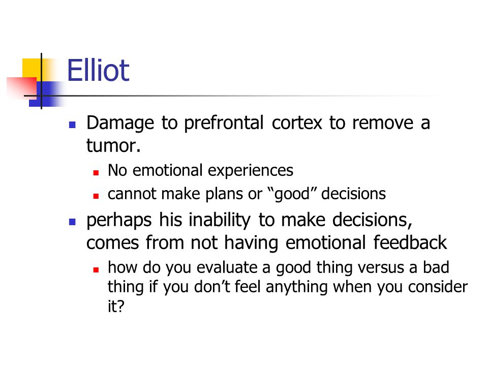 """Elliot Damage to prefrontal cortex to remove a tumor. No emotional experiences cannot make plans or """"good"""" decisions perhaps his inability to make dec"""