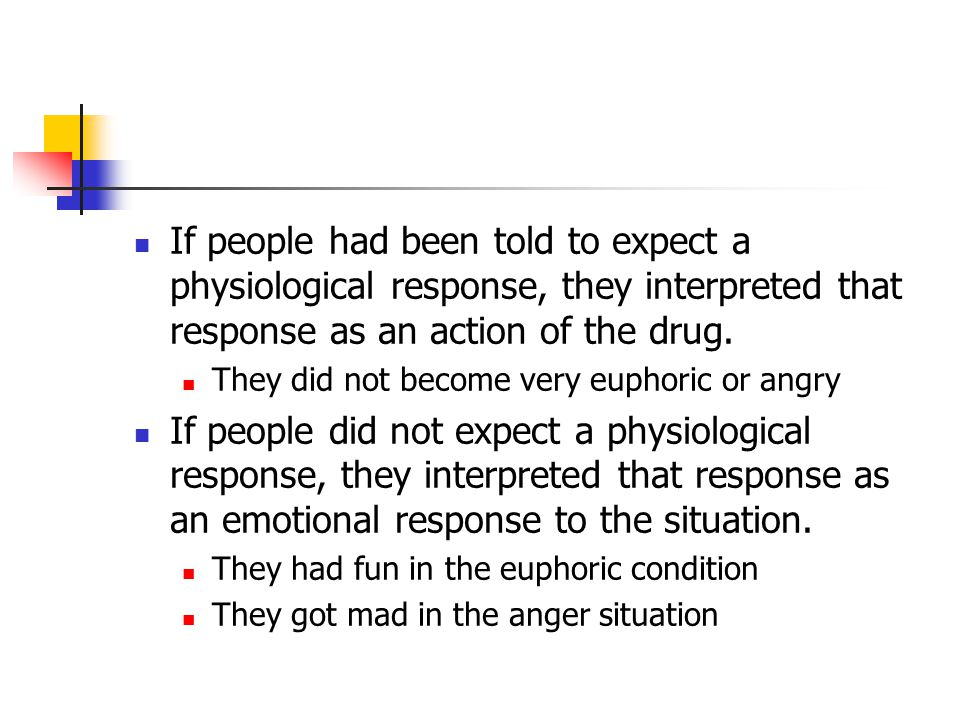 If people had been told to expect a physiological response, they interpreted that response as an action of the drug. They did not become very euphoric