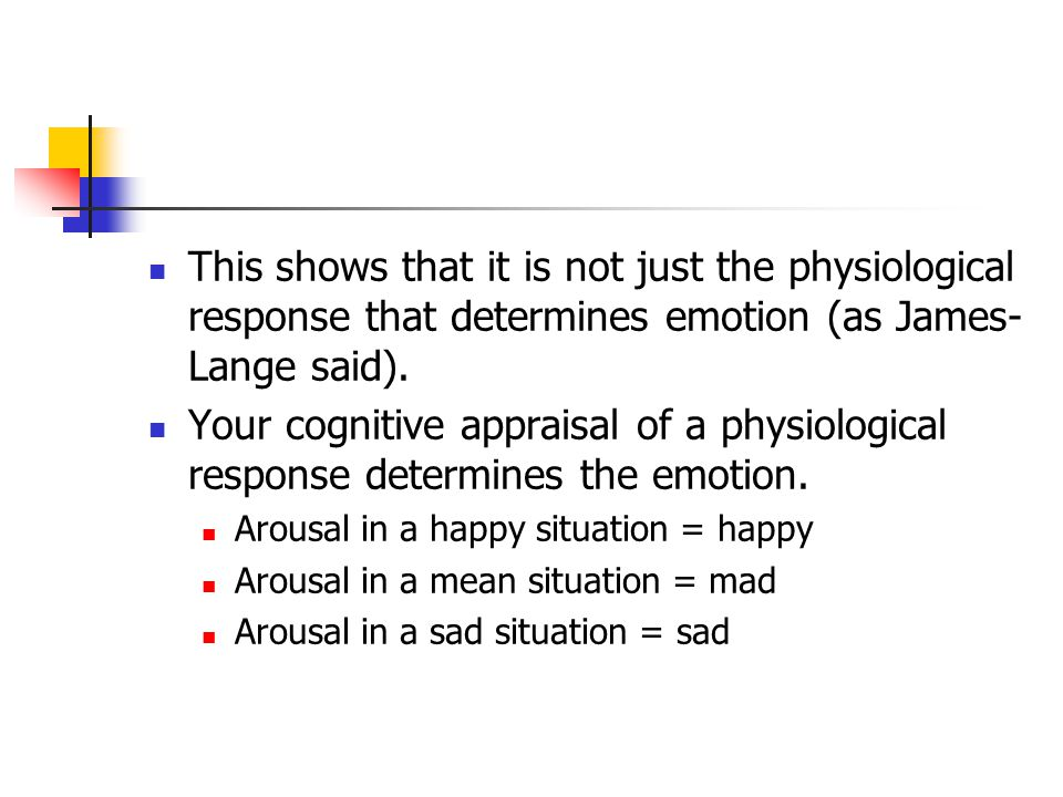 This shows that it is not just the physiological response that determines emotion (as James- Lange said). Your cognitive appraisal of a physiological