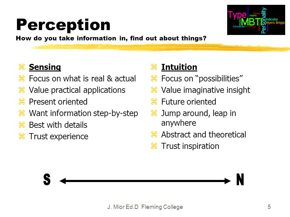 5 Perception How do you take information in, find out about things.