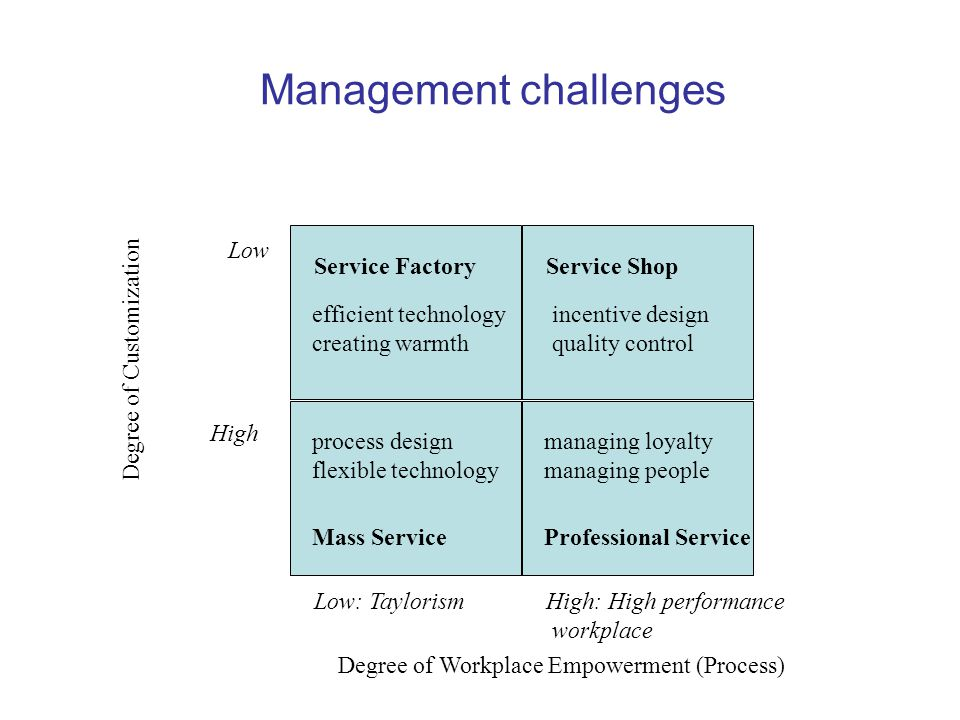 Management challenges Service FactoryService Shop Low High Low: TaylorismHigh: High performance workplace Degree of Workplace Empowerment (Process) Degree of Customization Mass ServiceProfessional Service process design flexible technology managing loyalty managing people efficient technology creating warmth incentive design quality control