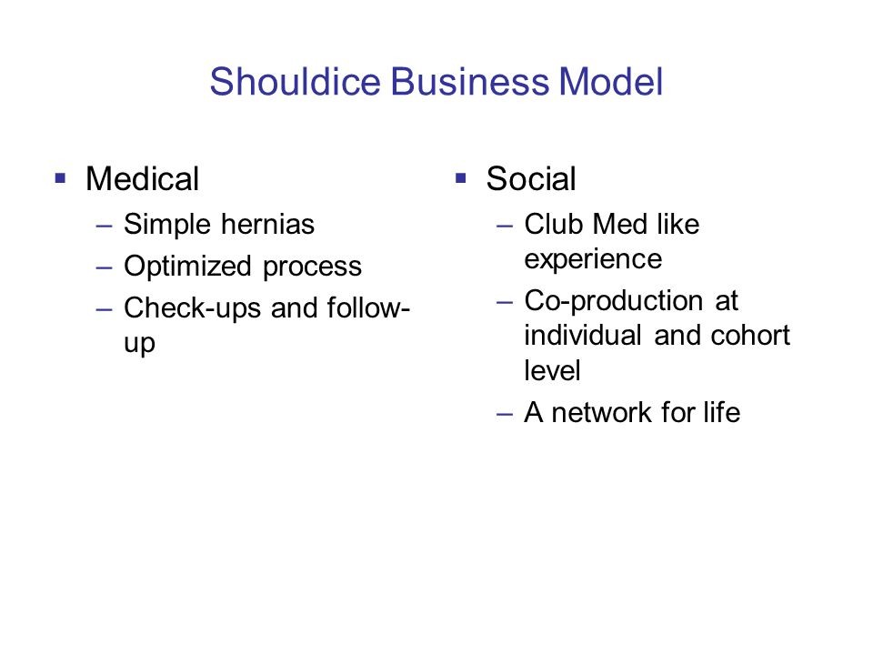 Shouldice Business Model  Medical –Simple hernias –Optimized process –Check-ups and follow- up  Social –Club Med like experience –Co-production at individual and cohort level –A network for life