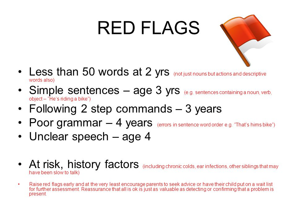 RED FLAGS Less than 50 words at 2 yrs (not just nouns but actions and descriptive words also) Simple sentences – age 3 yrs (e.g. sentences containing