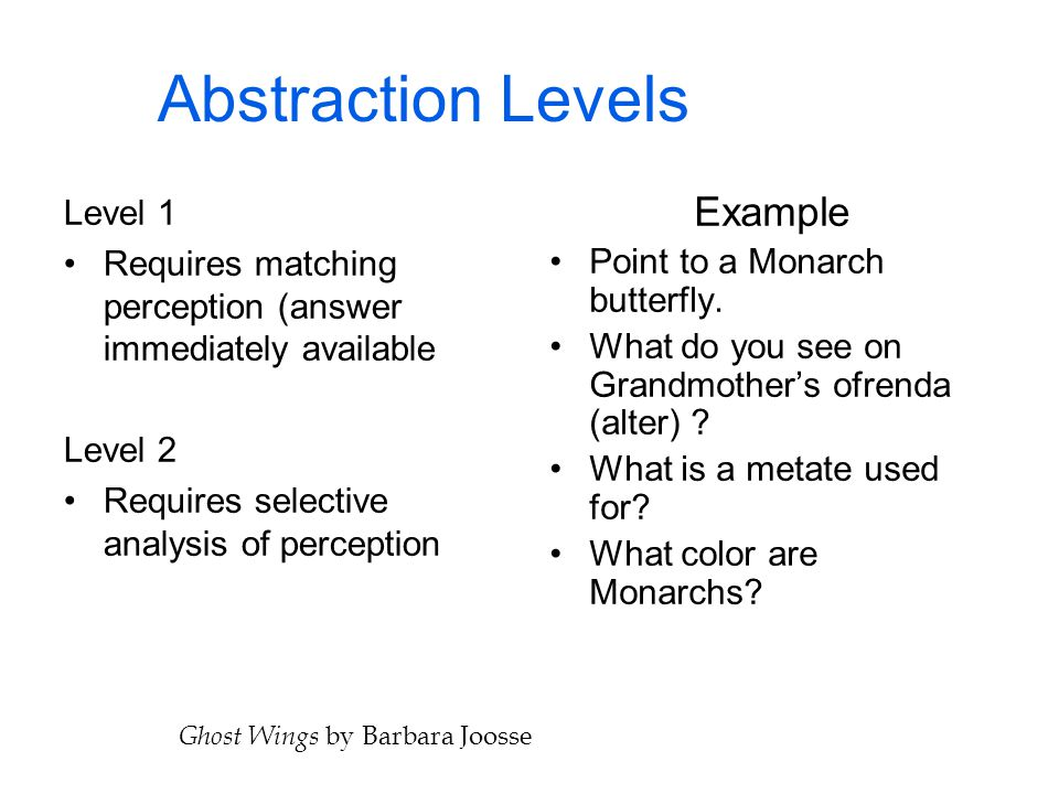 Abstraction Levels Level 1 Requires matching perception (answer immediately available Level 2 Requires selective analysis of perception Example Point