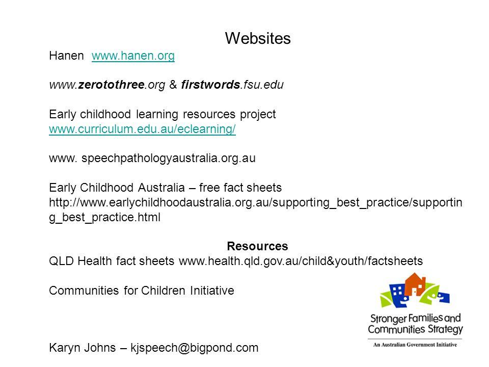 Websites Hanen www.hanen.orgwww.hanen.org www.zerotothree.org & firstwords.fsu.edu Early childhood learning resources project www.curriculum.edu.au/ec