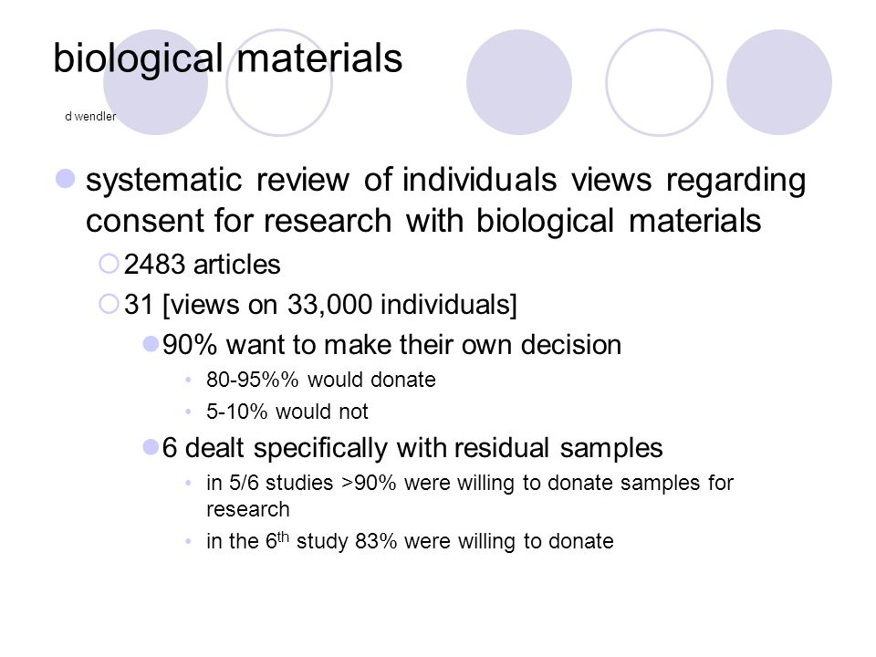 biological materials d wendler systematic review of individuals views regarding consent for research with biological materials  2483 articles  31 [v