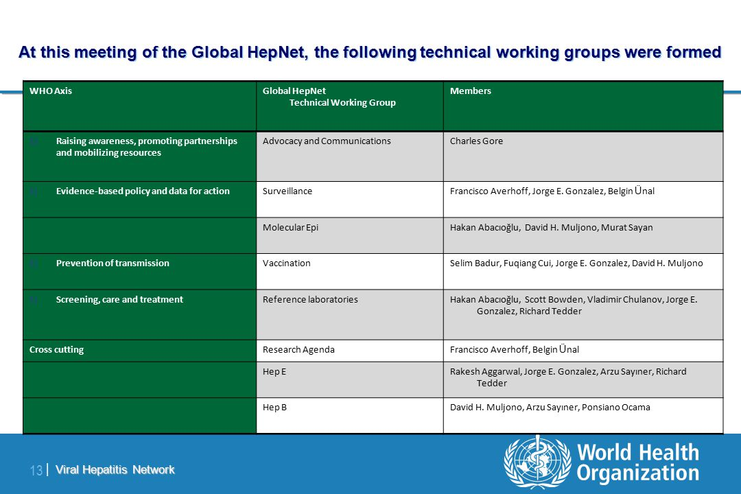Viral Hepatitis Network 13 | At this meeting of the Global HepNet, the following technical working groups were formed WHO AxisGlobal HepNet Technical Working Group Members 1)Raising awareness, promoting partnerships and mobilizing resources Advocacy and CommunicationsCharles Gore 1)Evidence-based policy and data for actionSurveillanceFrancisco Averhoff, Jorge E.