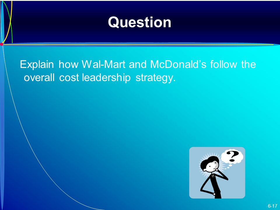 Question Explain how Wal-Mart and McDonald's follow the overall cost leadership strategy. 6-17