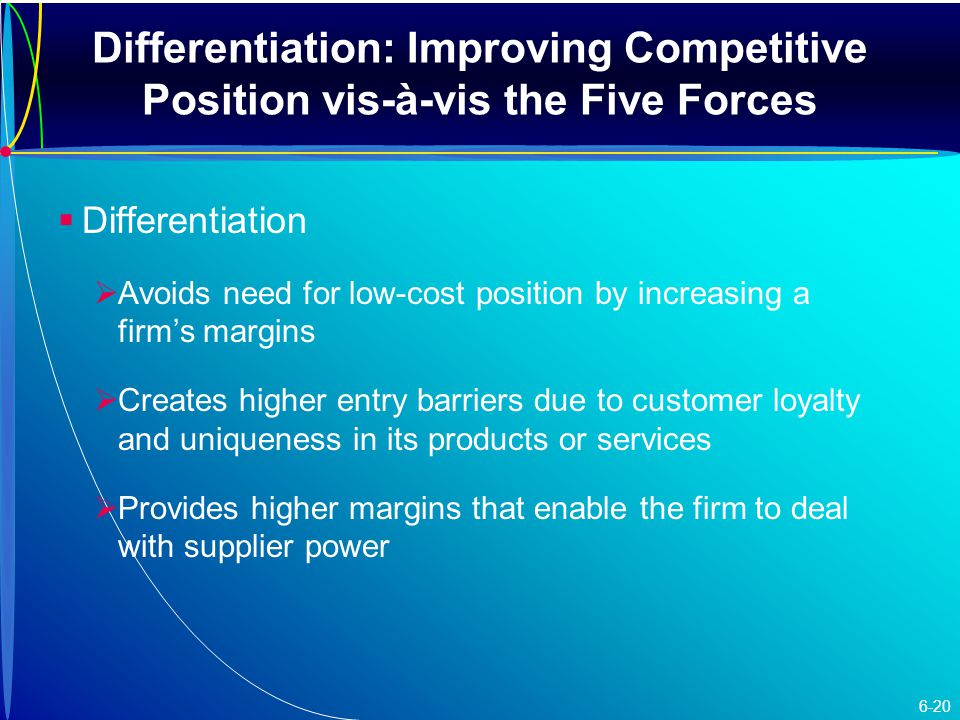 Differentiation: Improving Competitive Position vis-à-vis the Five Forces   Differentiation   Avoids need for low-cost position by increasing a firm's margins   Creates higher entry barriers due to customer loyalty and uniqueness in its products or services   Provides higher margins that enable the firm to deal with supplier power 6-20