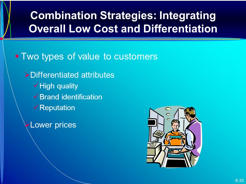 Combination Strategies: Integrating Overall Low Cost and Differentiation   Two types of value to customers   Differentiated attributes High quality Brand identification Reputation   Lower prices 6-33