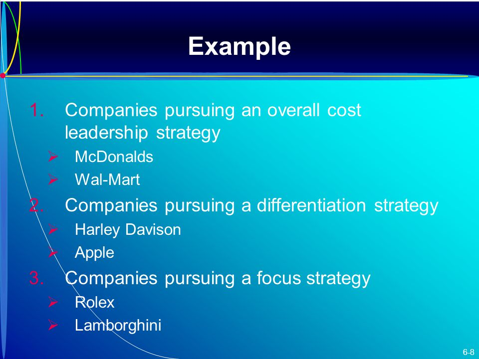 Example 1. 1.Companies pursuing an overall cost leadership strategy   McDonalds   Wal-Mart 2.