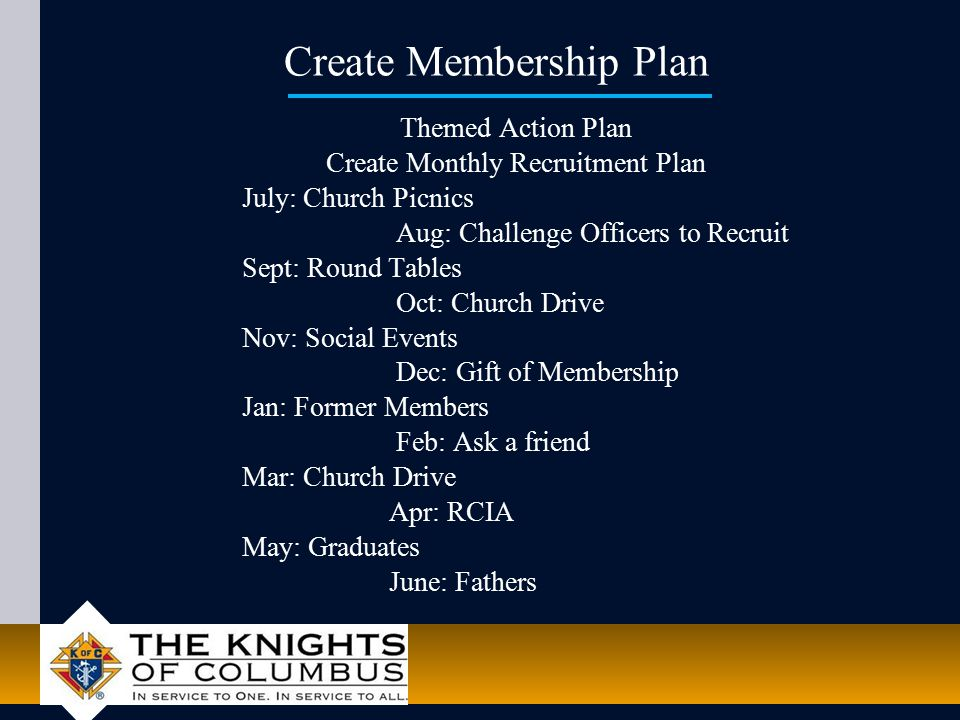 Create Membership Plan Themed Action Plan Create Monthly Recruitment Plan July: Church Picnics Aug: Challenge Officers to Recruit Sept: Round Tables Oct: Church Drive Nov: Social Events Dec: Gift of Membership Jan: Former Members Feb: Ask a friend Mar: Church Drive Apr: RCIA May: Graduates June: Fathers