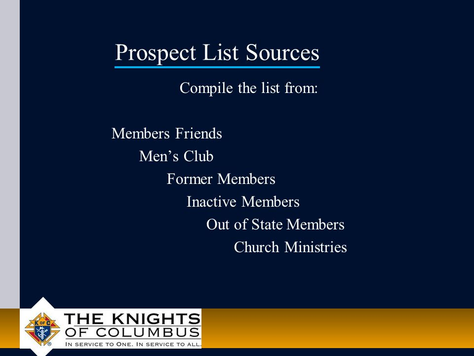 Prospect List Sources Compile the list from: Members Friends Men's Club Former Members Inactive Members Out of State Members Church Ministries