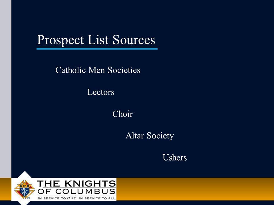 Catholic Men Societies Lectors Choir Altar Society Ushers Prospect List Sources
