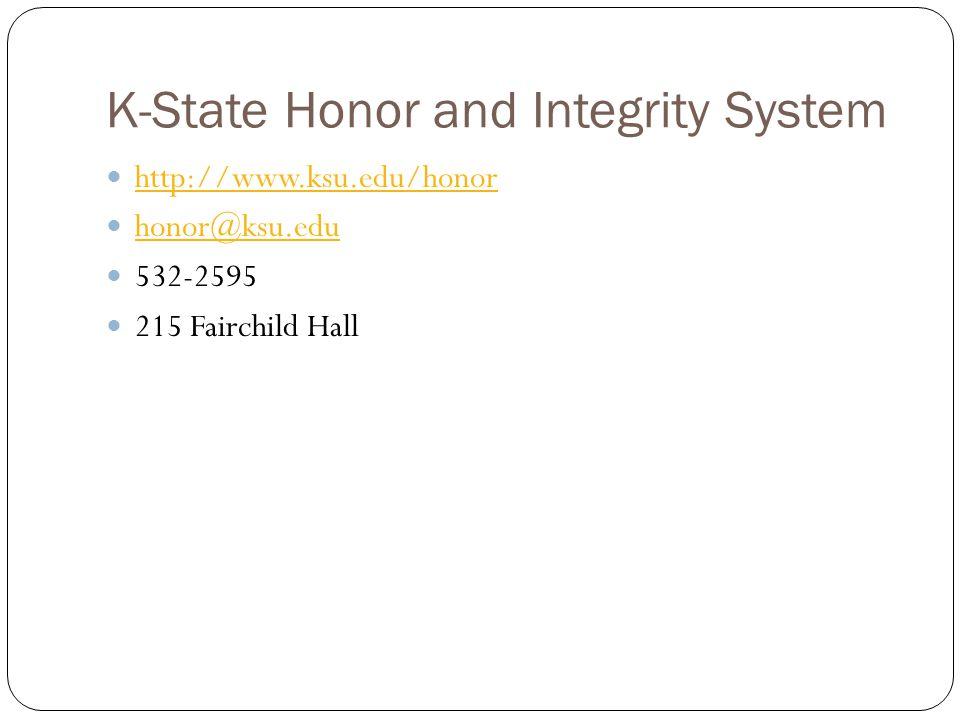 K-State Honor and Integrity System http://www.ksu.edu/honor honor@ksu.edu 532-2595 215 Fairchild Hall