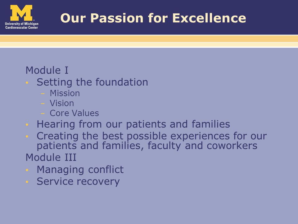 Our Passion for Excellence Module I Setting the foundation – Mission – Vision – Core Values Hearing from our patients and families Creating the best possible experiences for our patients and families, faculty and coworkers Module III Managing conflict Service recovery