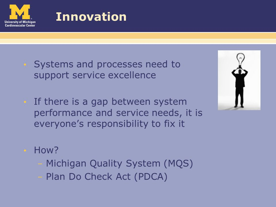 Innovation Systems and processes need to support service excellence If there is a gap between system performance and service needs, it is everyone's responsibility to fix it How.