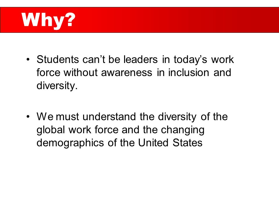 Students can't be leaders in today's work force without awareness in inclusion and diversity.