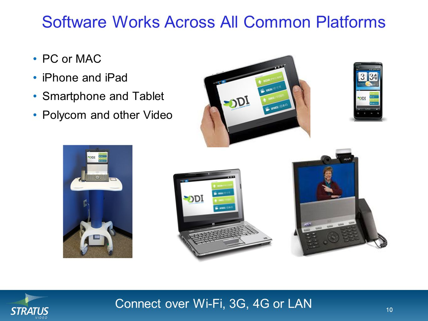 Software Works Across All Common Platforms PC or MAC iPhone and iPad Smartphone and Tablet Polycom and other Video 10 Android Rolling Cart Connect ove