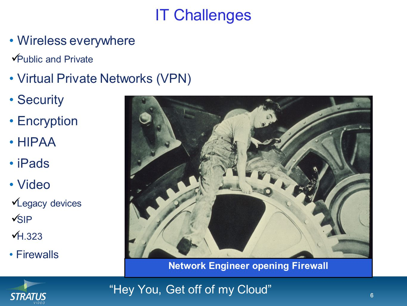 6 IT Challenges 6 Wireless everywhere Public and Private Virtual Private Networks (VPN) Security Encryption HIPAA iPads Video Legacy devices SIP H.323