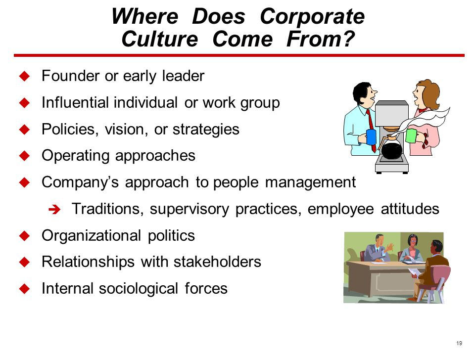 19  Founder or early leader  Influential individual or work group  Policies, vision, or strategies  Operating approaches  Company's approach to people management  Traditions, supervisory practices, employee attitudes  Organizational politics  Relationships with stakeholders  Internal sociological forces Where Does Corporate Culture Come From