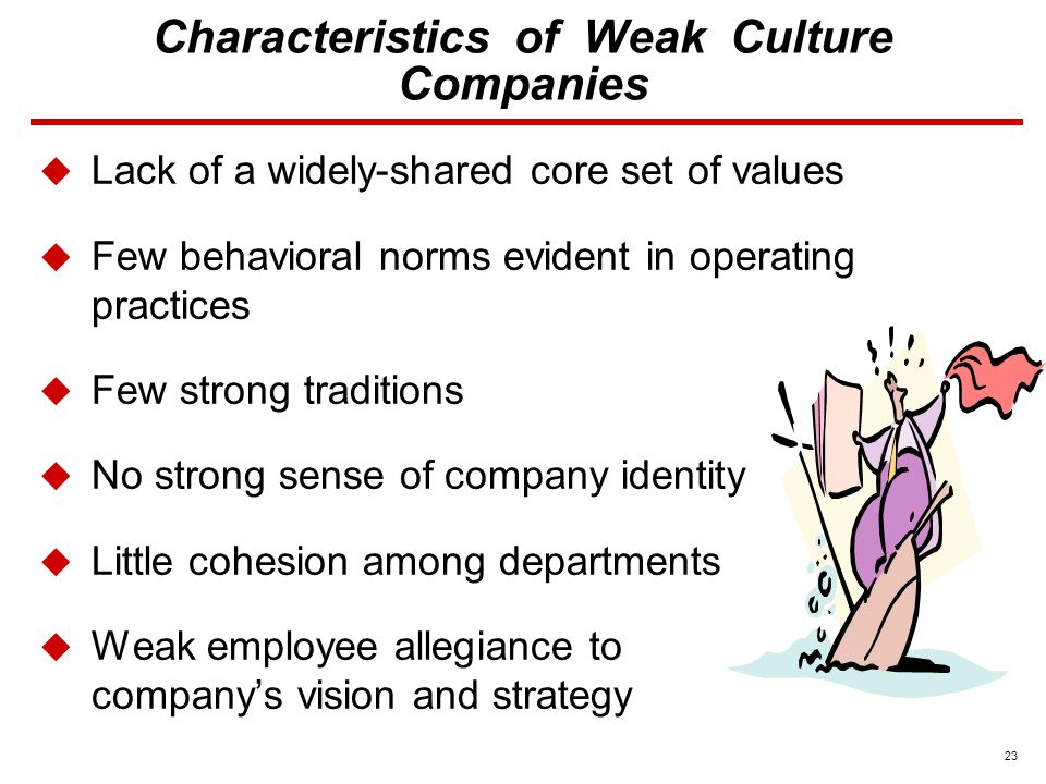 23 Characteristics of Weak Culture Companies  Lack of a widely-shared core set of values  Few behavioral norms evident in operating practices  Few strong traditions  No strong sense of company identity  Little cohesion among departments  Weak employee allegiance to company's vision and strategy